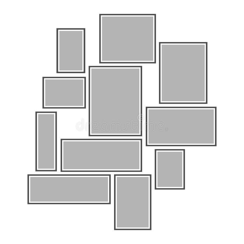 Composition des cadres gris de photo sur le mur Cadre sur un fond blanc illustration stock