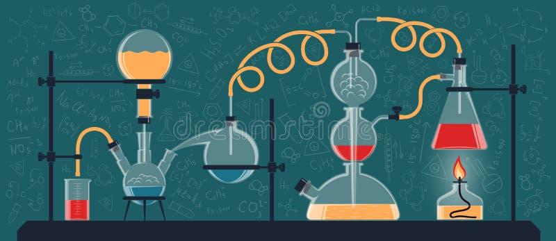 Composition des flacons et des dispositifs chimiques illustration libre de droits