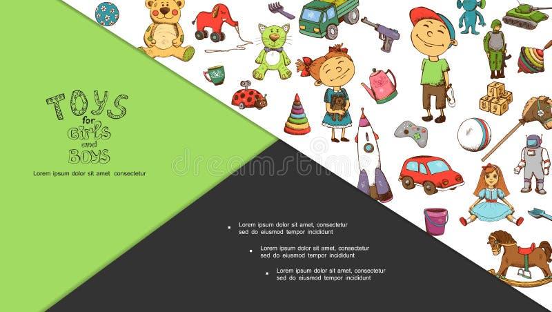 Composition des jouets pour enfants tirés à la main illustration de vecteur