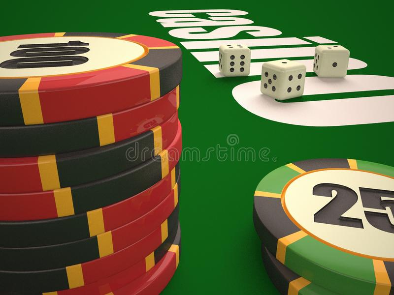 Composition of dice and casino chips. stock photo