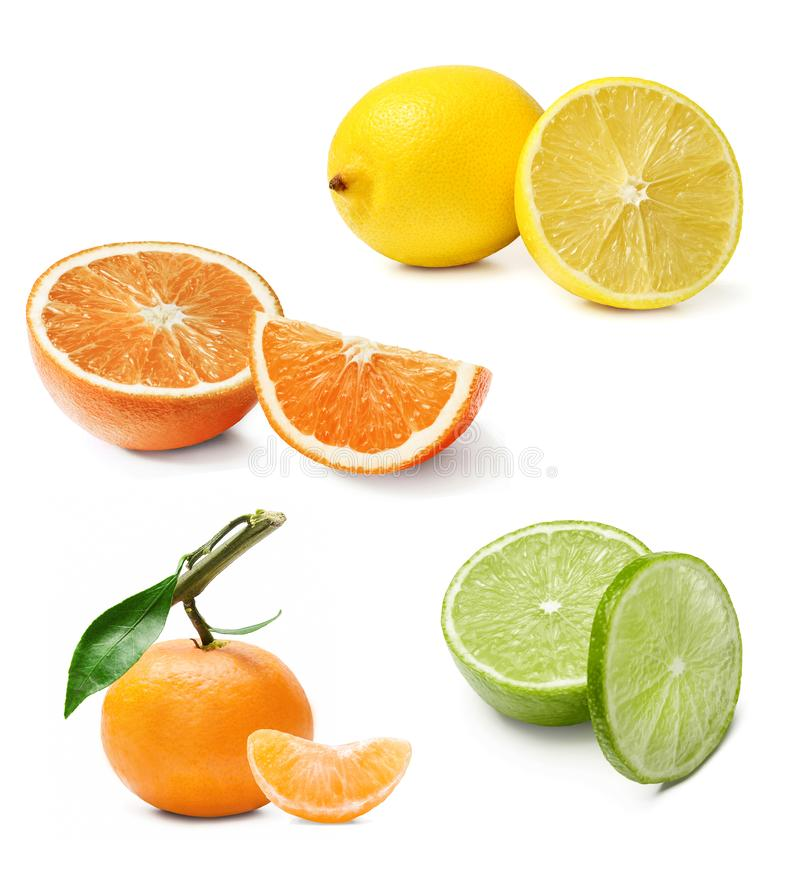 The composition of different citrus. Orange, lemon, lime, tangerine. White isolated background. stock photo