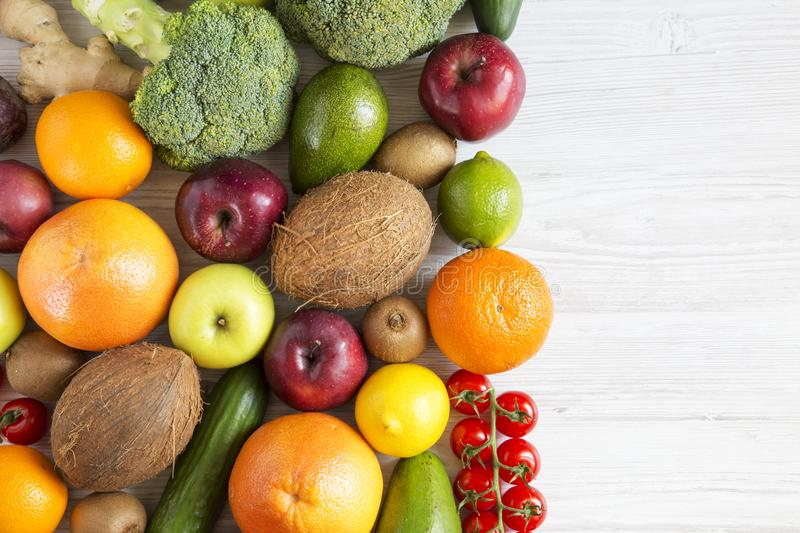 Composition with different fresh organic fruits and vegetables. stock photography