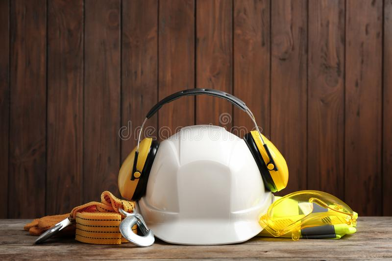 Composition with different safety equipment. On table royalty free stock images