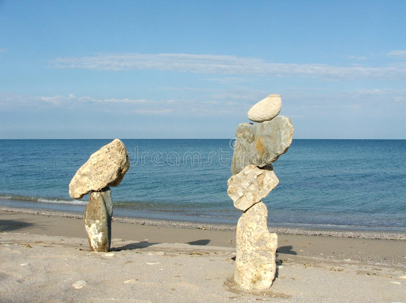 Composition with different stones and sea royalty free stock photography