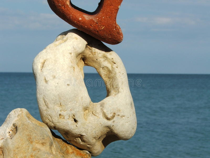 Composition with different stones and sea stock images