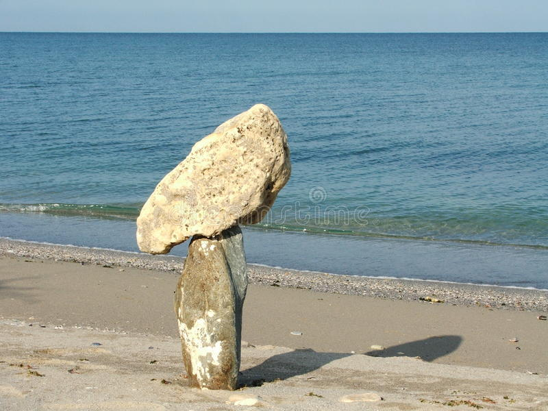 Composition with different stones and sea stock photo