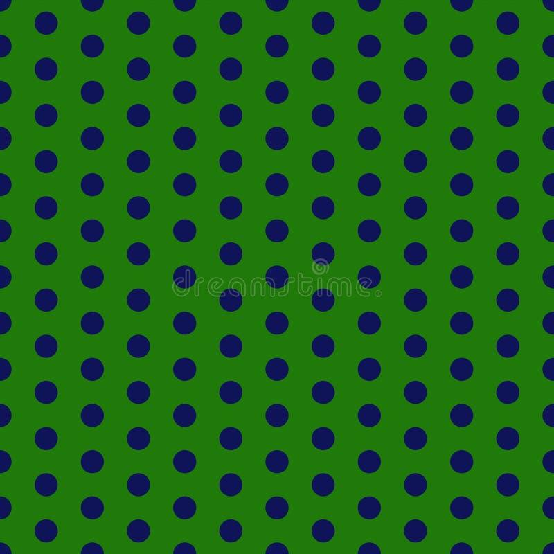 Green and Navy Polka Dots Seamless Pattern. Green and navy blue polka dots design stock illustration