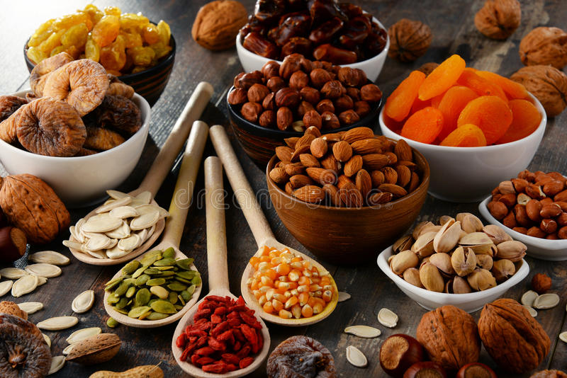 Download Composition With Dried Fruits And Assorted Nuts Stock Image - Image of berries, peanut: 84306023