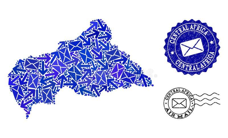 Composition du trafic de courrier de carte de mosaïque des timbres de République Centrafricaine et de détresse illustration stock