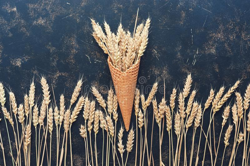The composition of the ears and the waffle cone on a dark background. The concept of autumn and harvest.Spikes of rye or wheat royalty free stock photo