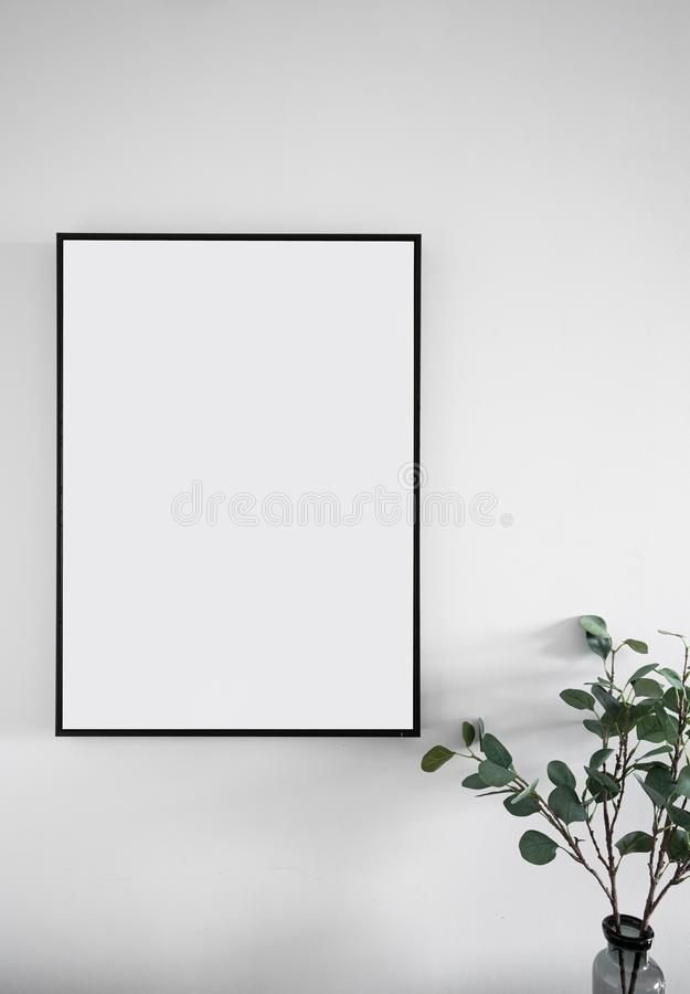 Composition of empty black wooden frame install on white painted wall with artificial plant on the corner / interior design / isol royalty free stock photography