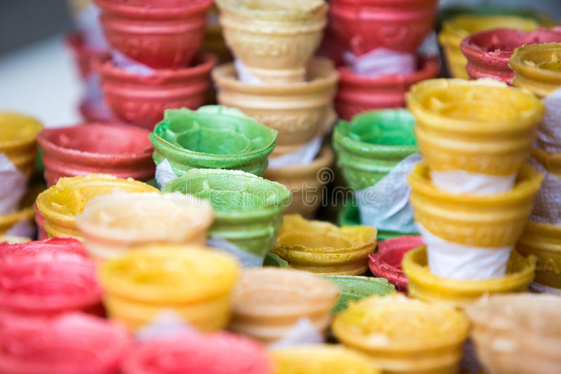 Composition of empty colorful ice cream cones royalty free stock images