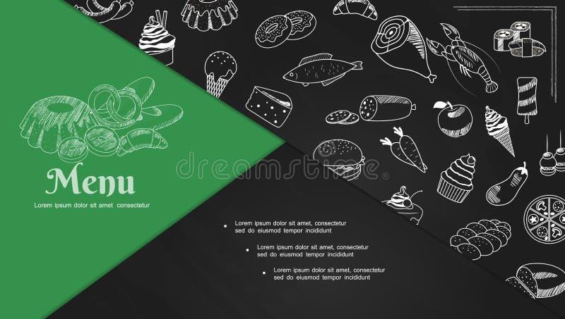 Composition en éléments de menu de café de croquis illustration stock