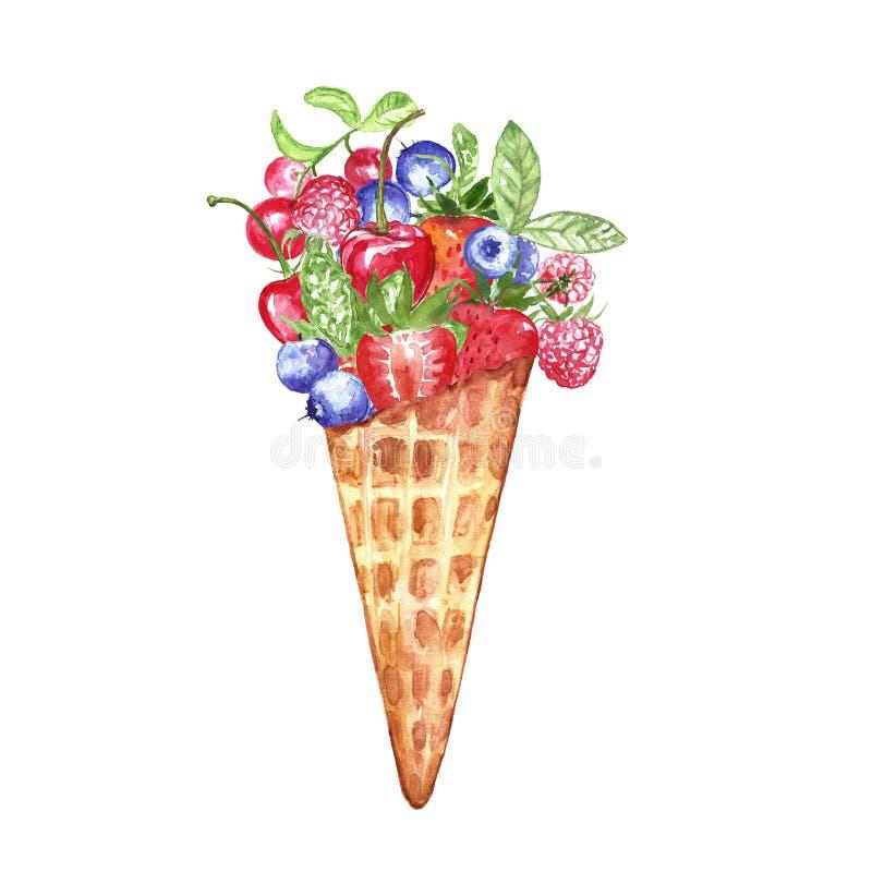 Composition en aquarelle avec les baies et la crème glacée peintes à la main dans un cône de gaufre Fraise, myrtille, framboises, illustration libre de droits