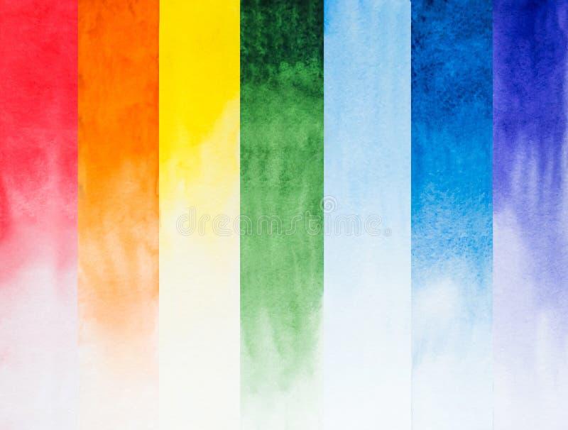 Composition en aquarelle d'arc-en-ciel dans les rayures séparées photos stock