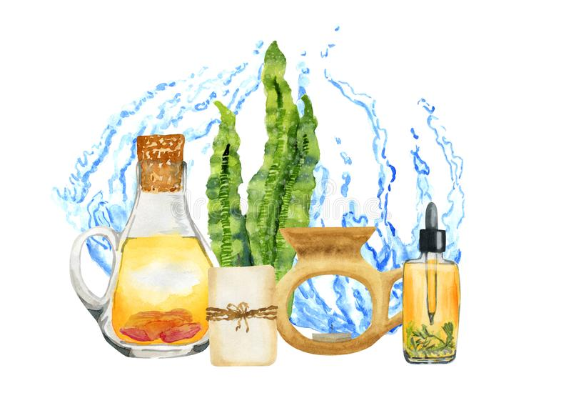Composition en aromatherapy de STATION THERMALE d'aquarelle sur le fond blanc avec de l'eau illustration stock