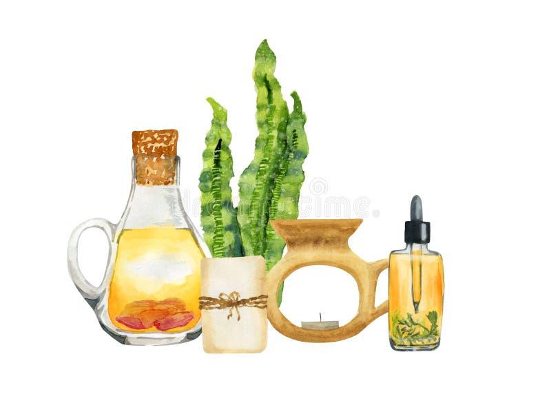 Composition en aromatherapy de STATION THERMALE d'aquarelle sur le fond blanc illustration stock