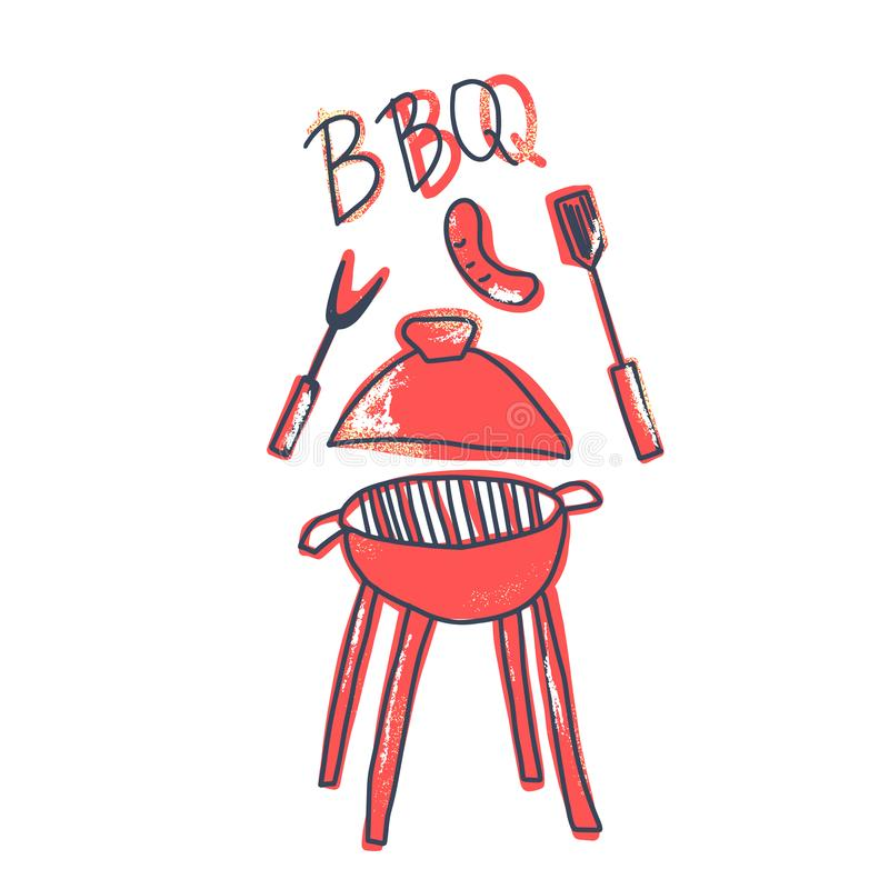 Composition en barbecue avec le texte illustration stock