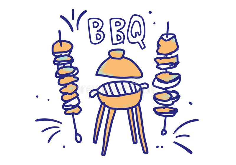 Composition en barbecue avec le texte illustration de vecteur