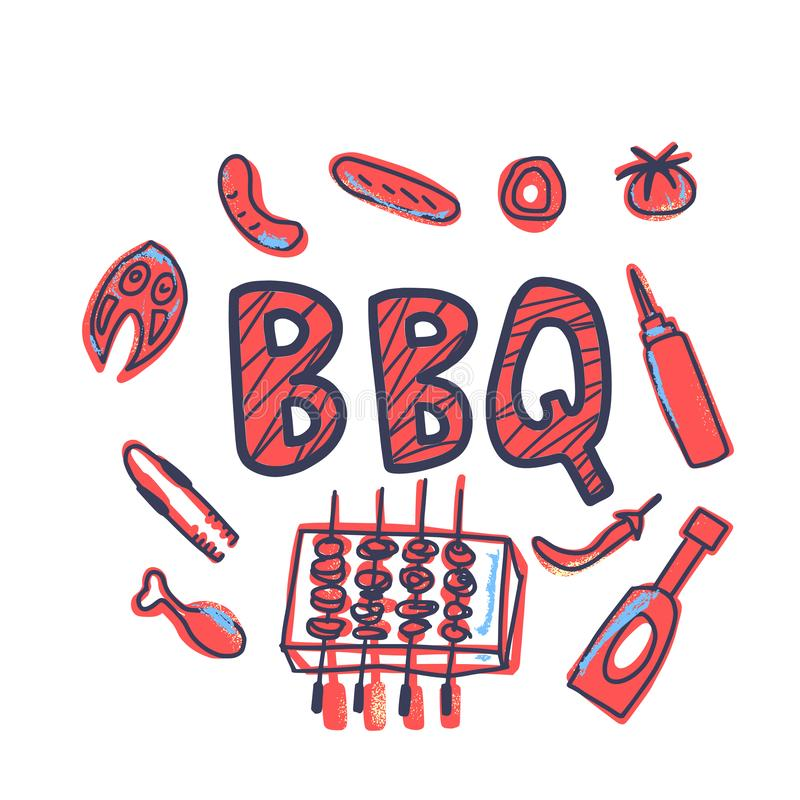 Composition en barbecue avec le texte Conception de vecteur illustration de vecteur