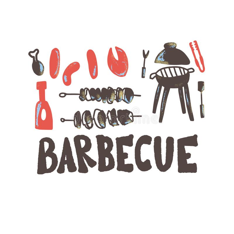 Composition en barbecue Conception de vecteur illustration stock