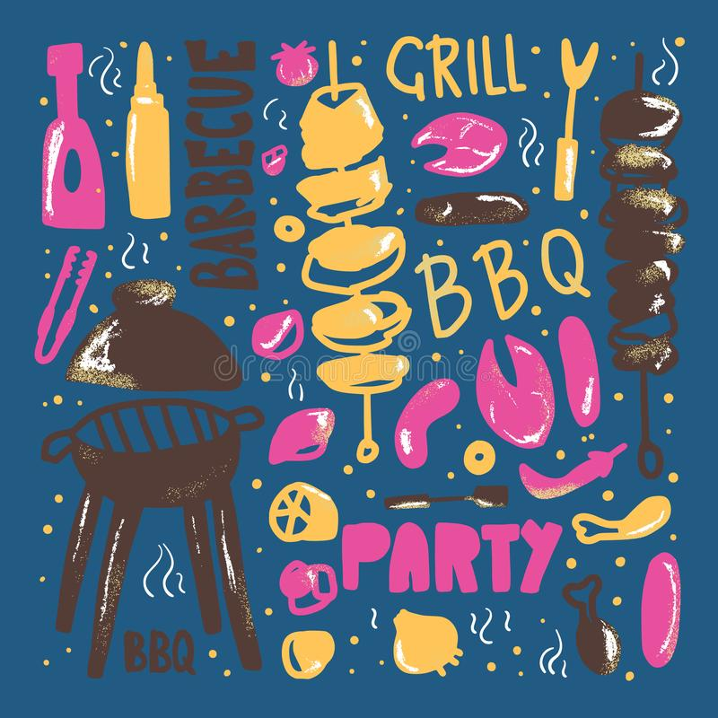 Composition en barbecue Conception de vecteur illustration libre de droits