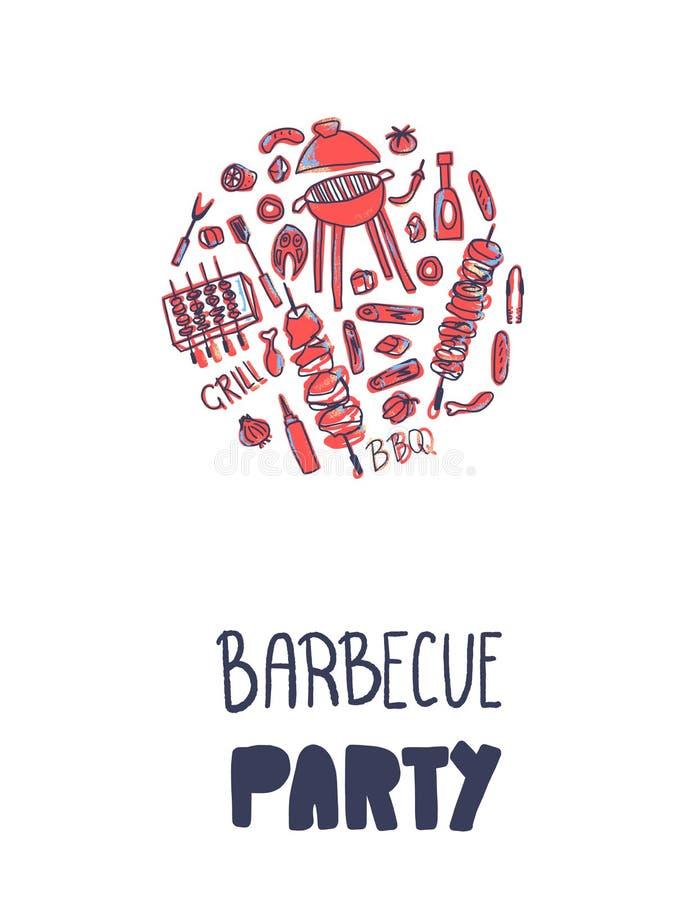 Composition en barbecue Conception de vecteur illustration stock