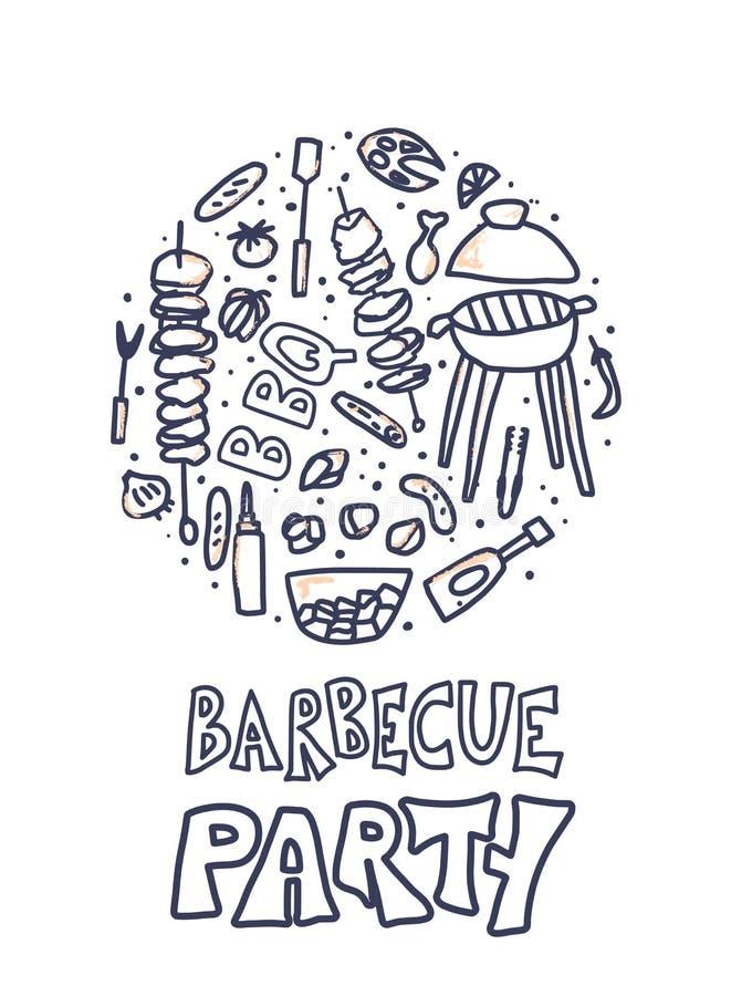 Composition en barbecue Conception de vecteur illustration de vecteur