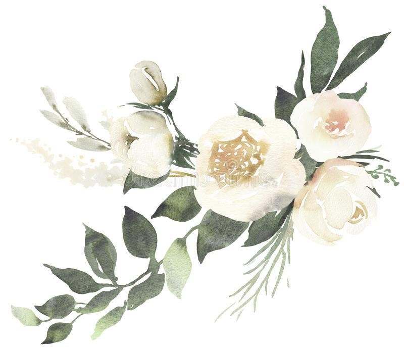Composition en bouquet floral de mariage d'aquarelle avec les roses blanches a illustration stock