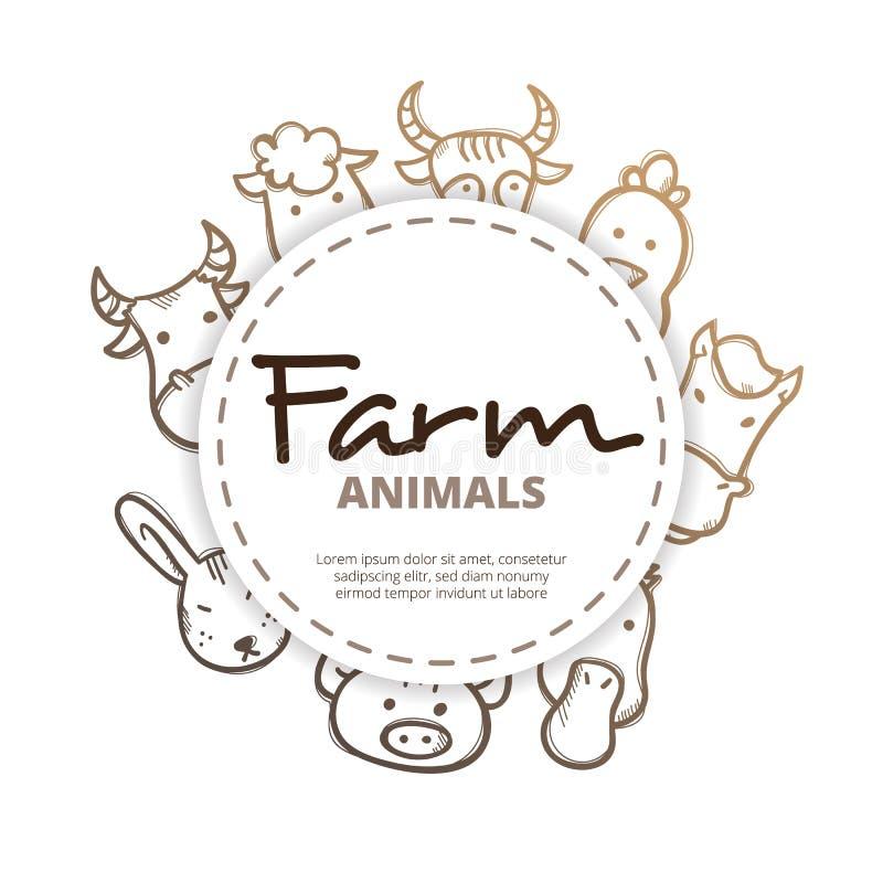 Composition en cercle d'icônes d'animaux de ferme de vecteur illustration stock