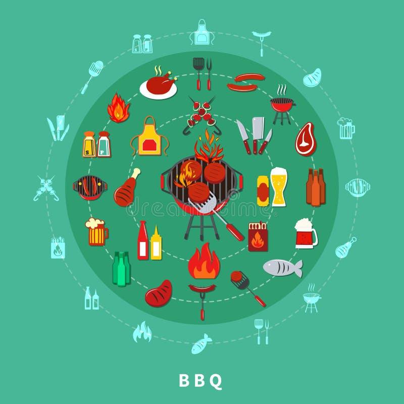 Composition en cercle de barbecue illustration de vecteur