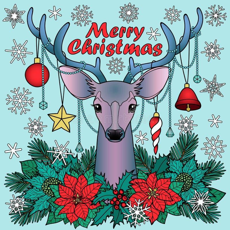 Composition en cerfs communs de Joyeux Noël illustration libre de droits