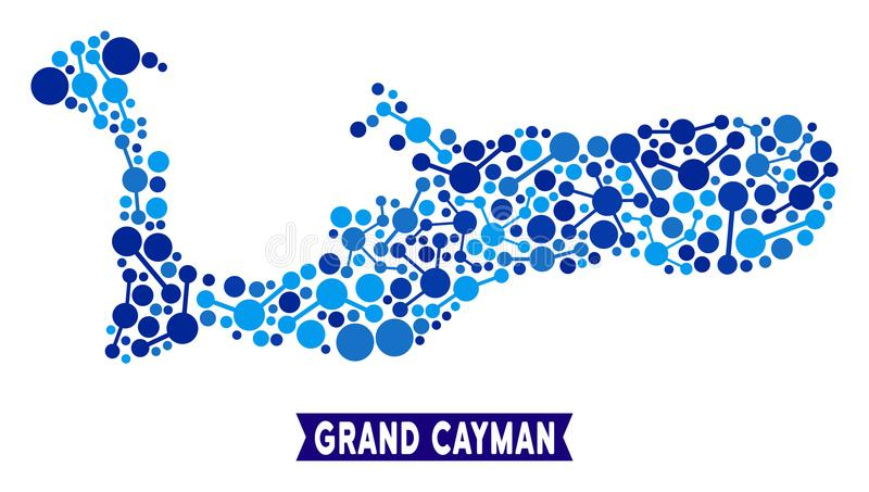 Composition en connexions de carte d'île de Grand Cayman illustration libre de droits
