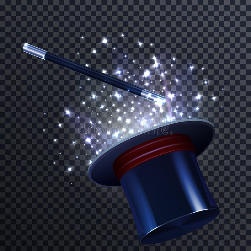 Composition en conte avec la baguette magique et le magicien magiques Hat illustration de vecteur