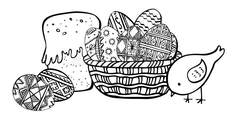 Composition en croquis de Pâques avec le panier, les oeufs, le gâteau de Pâques et le poulet Illustration tirée par la main de ve illustration de vecteur