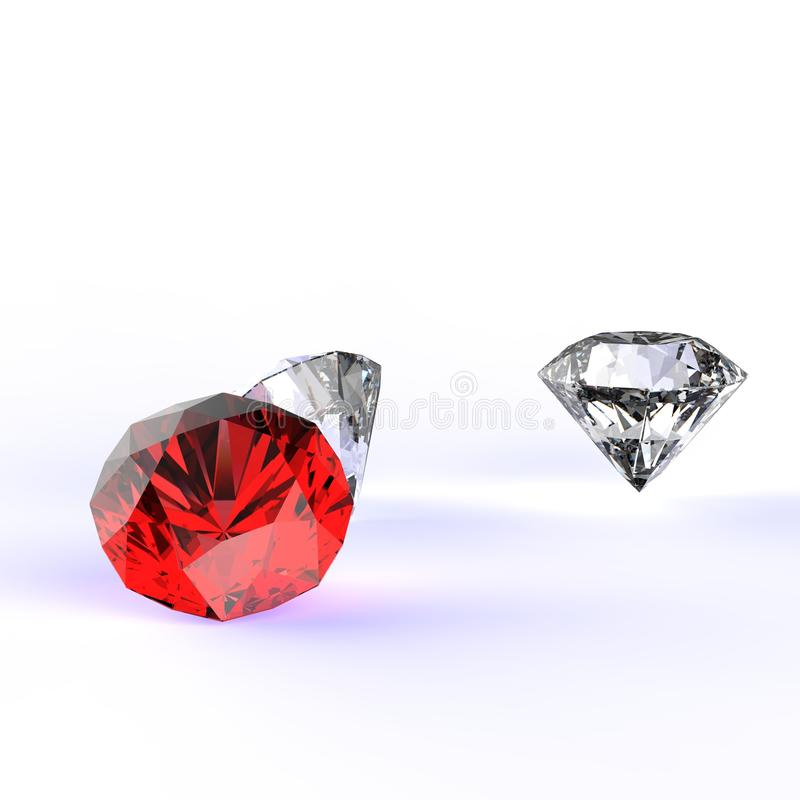 Composition en diamants 3d illustration stock