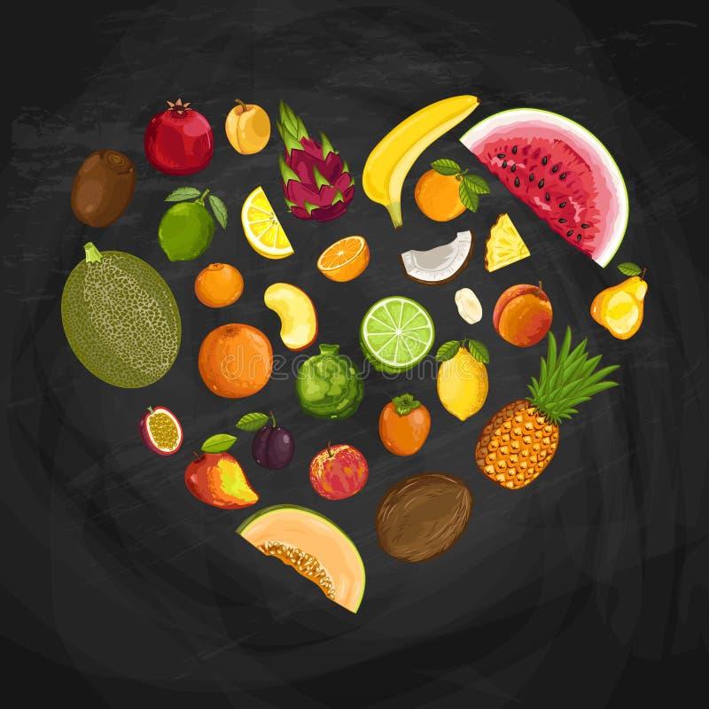 Composition en forme de coeur de fruit frais illustration de vecteur