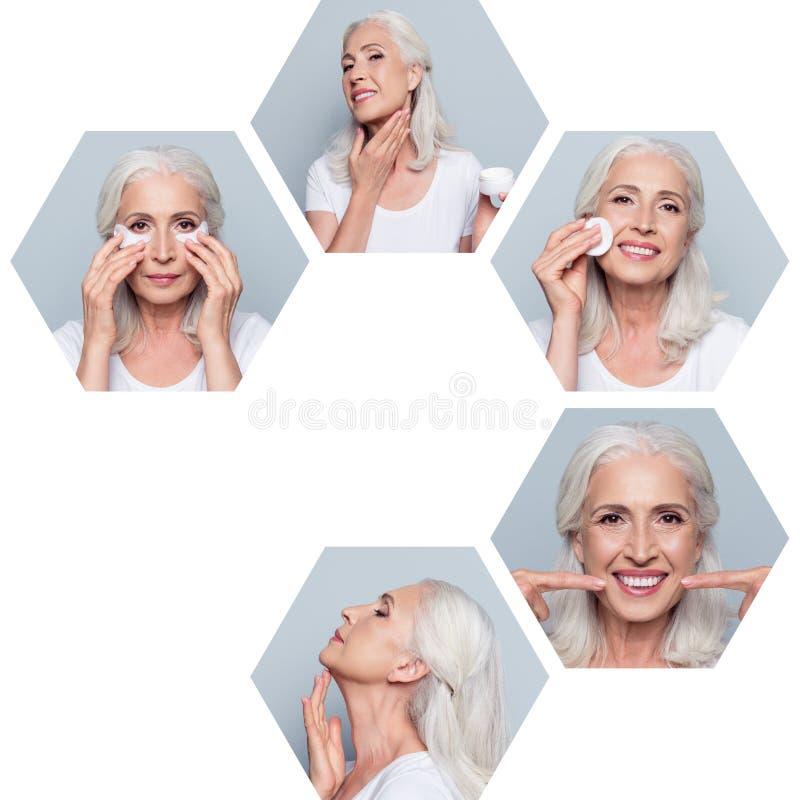 Composition en gros plan de collage de gentille mamie cinq gaie attirante hexagonale faisant des procédures faciales utiles effic images libres de droits