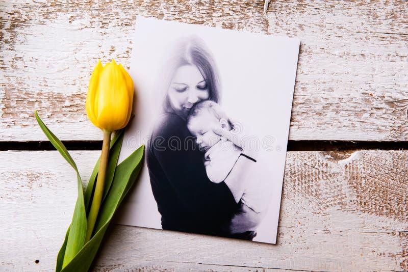 Composition en jour de mères Photo noire et blanche et tuli jaune photographie stock
