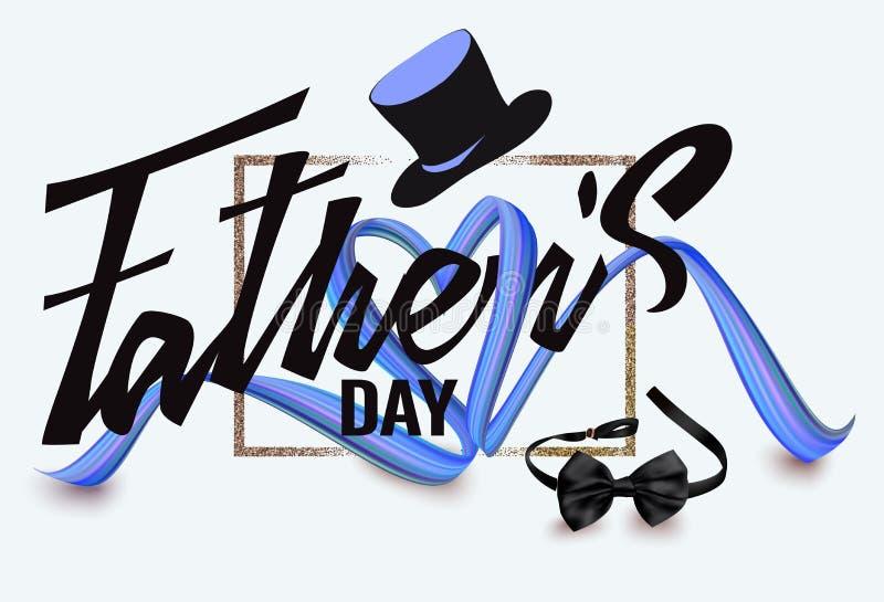 Composition en jour de père avec les objets en forme de coeur de ruban et de pères illustration de vecteur