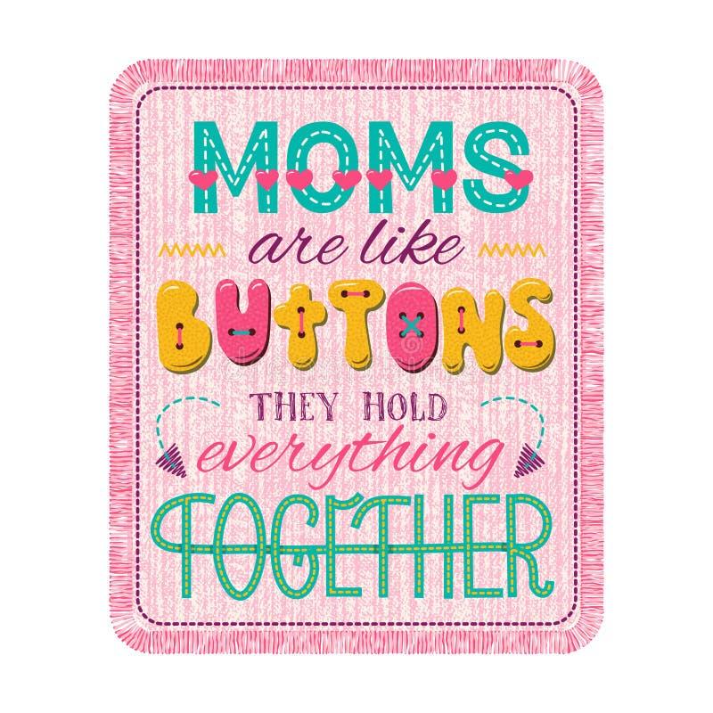 Composition en lettrage de jour de mères illustration stock