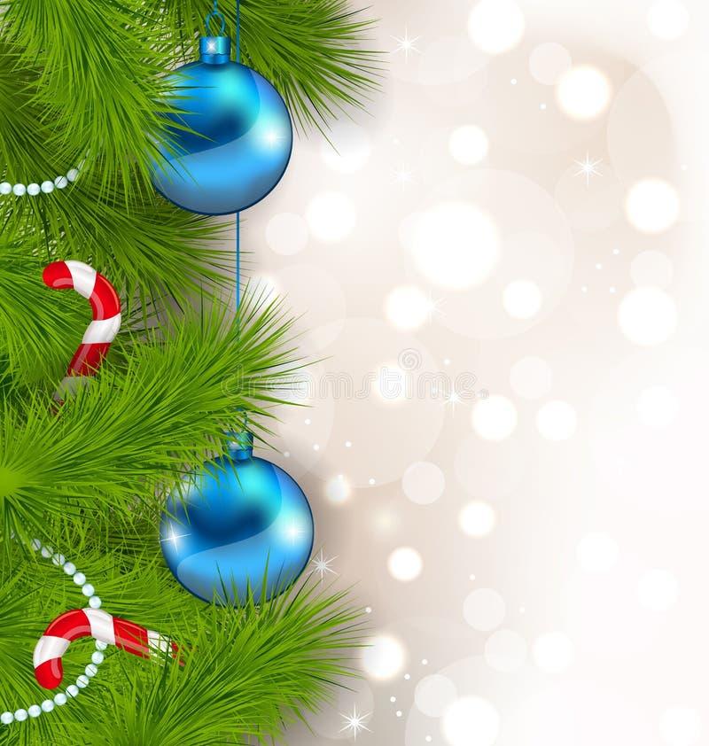 Composition en Noël avec des branches de sapin, des boules en verre et c doux illustration stock