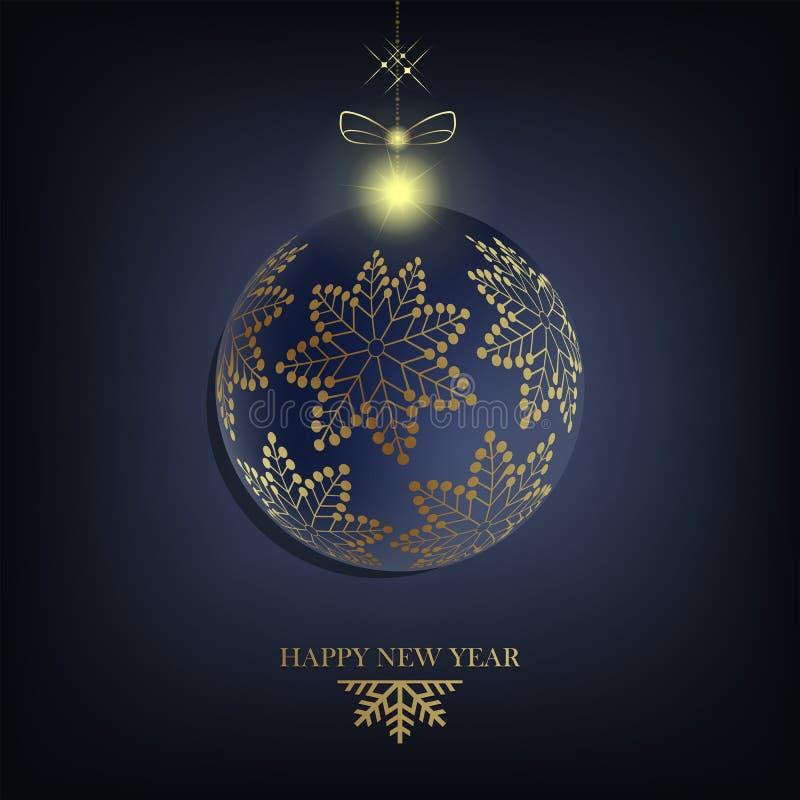Composition en Noël avec une boule de Noël avec les flocons de neige, le texte et l'arc d'or avec le scintillement illustration stock