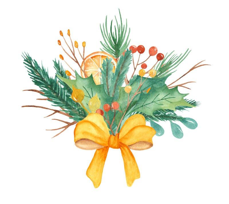 Composition en Noël d'aquarelle Bouquet avec des branches de sapin, baies, cadeaux, boules, arc illustration de vecteur