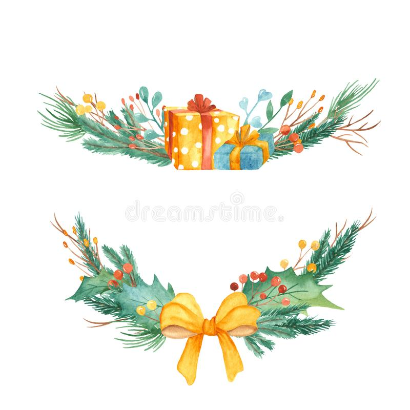Composition en Noël d'aquarelle Bouquet avec des branches de sapin, baies, cadeaux, boules, arc illustration libre de droits