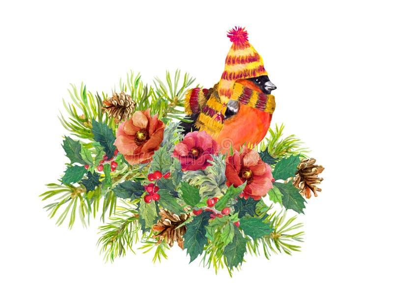 Composition en Noël - l'oiseau de pinson, hiver fleurit, arbre impeccable, gui watercolor illustration libre de droits