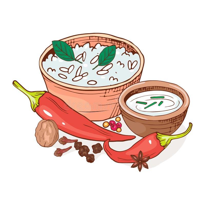Composition en nourriture saine de Vegan avec la cuvette de plat de riz et de crème sure, de poivre et d'écrou Cuisine indienne T illustration stock