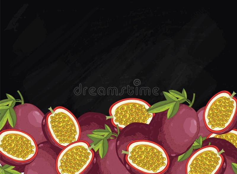 Composition en passiflore comestible de passiflore sur le tableau, trame illustration de vecteur