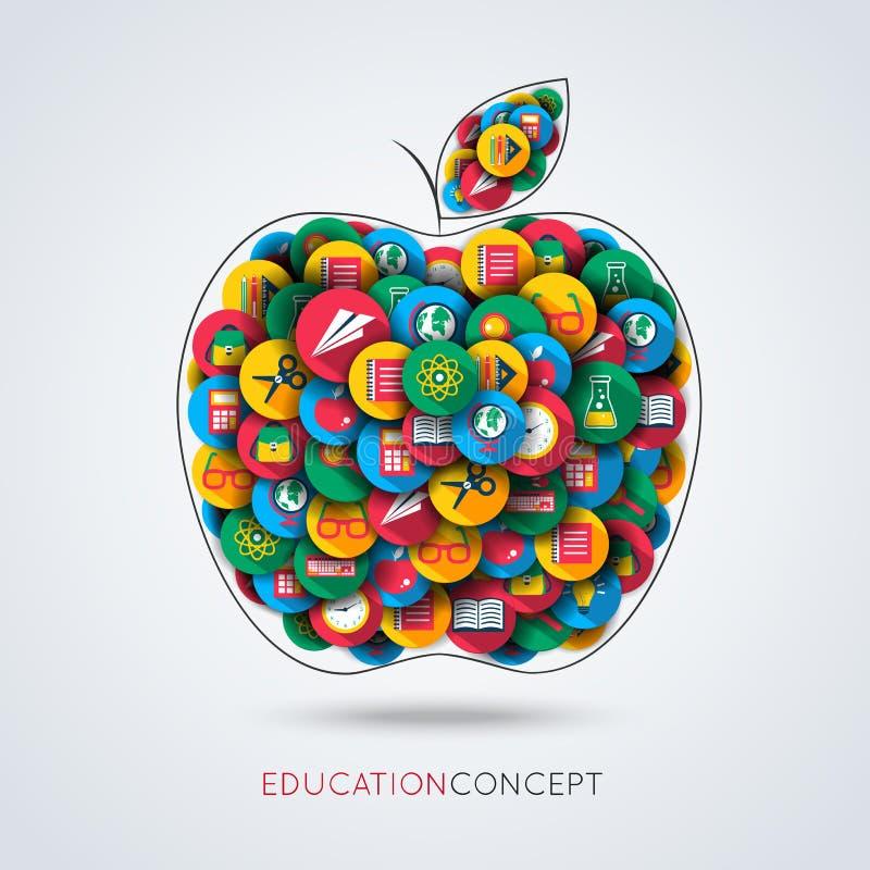 Composition en pomme d'icône d'éducation illustration de vecteur