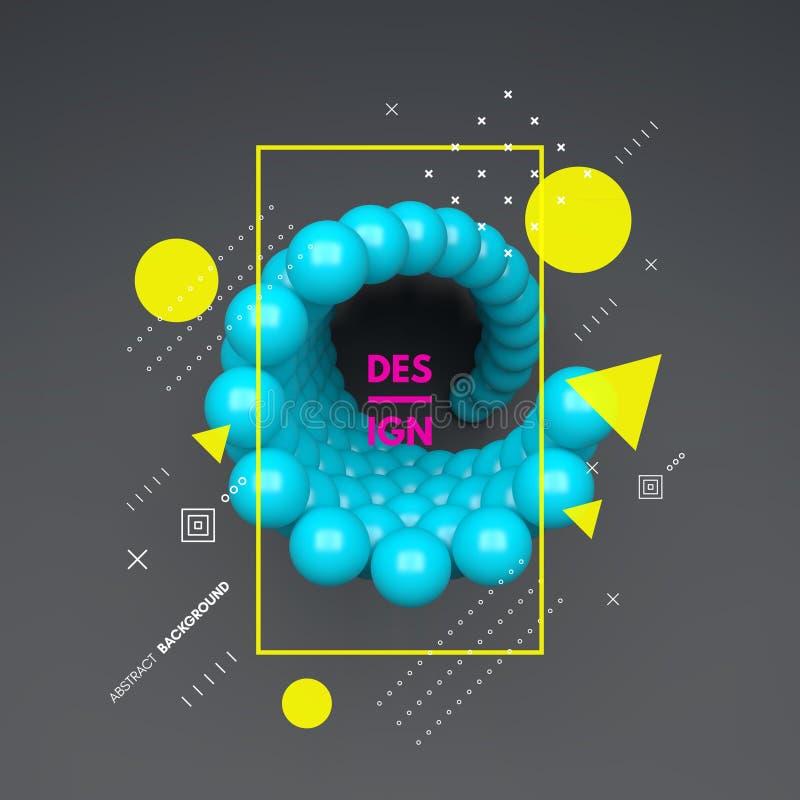composition en sphères 3d Élément d'art dans le style futuriste de technologie Illustration de vecteur pour le web design illustration libre de droits
